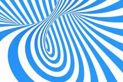 打旋光学3D幻觉光栅例证 对比蓝色和白色螺旋条纹 与线的几何冬天花托图象 库存图片