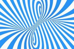 打旋光学3D幻觉光栅例证 对比蓝色和白色螺旋条纹 与线的几何冬天花托图象 免版税图库摄影