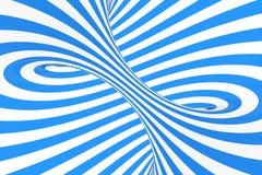 打旋光学3D幻觉光栅例证 对比蓝色和白色螺旋条纹 与线的几何冬天花托图象 图库摄影