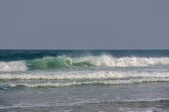 打旋反对灰色天空的鲜绿色波浪 库存图片