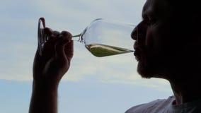 打旋的人,嗅,喝,品尝白酒,天空 股票视频