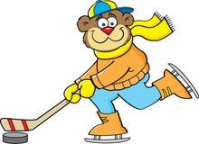 打曲棍球的动画片熊。 库存例证