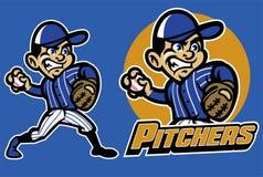 打棒球的孩子作为投手 库存例证