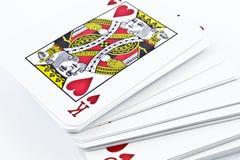 打牌的纸板纸牌 免版税库存照片