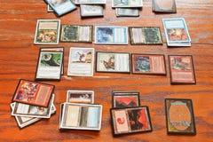 打牌魔术的运动场汇聚 库存图片