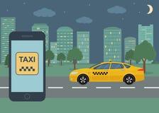 打电话与在一个屏幕上的接口出租汽车在背景出租汽车在城市 向量例证