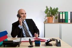 打电话与顾客的顾问 免版税库存图片