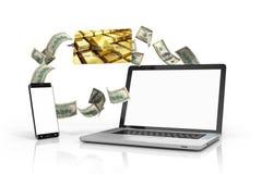 打电话和有白色屏幕的一台膝上型计算机和被隔绝的信用卡 免版税库存照片