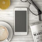 打电话在桌、咖啡和报纸3d例证 免版税库存图片