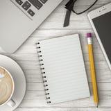 打电话在桌、咖啡和笔记本3d例证 免版税库存图片