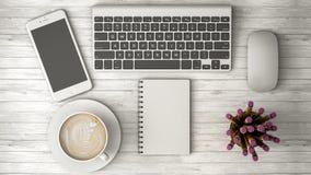 打电话在桌、咖啡和笔记本3d例证 免版税图库摄影