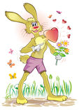打的愉快的重点爱兔子 库存图片