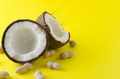 打破的椰子和花生在壳在明亮的背景,拷贝空间 库存照片