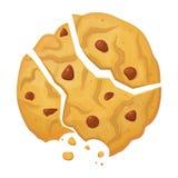 打破的麦甜饼,与面包屑的酥脆被烘烤的饼干 皇族释放例证