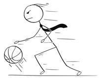 打篮球的商人动画片和滴下球 免版税库存照片