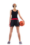 打篮球的妇女隔绝在白色 免版税库存图片