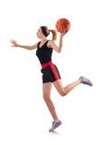 打篮球的妇女隔绝在白色 图库摄影