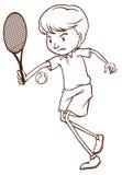 打网球的一个人的一个简单的剪影 免版税库存图片