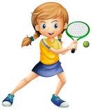 打网球的一个俏丽的夫人 向量例证