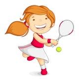 打网球的向量女孩 免版税库存照片