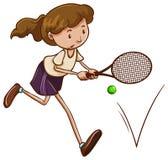 打网球的女孩的一个简单的剪影 库存照片