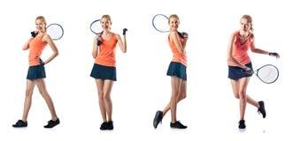 打网球的少妇隔绝在白色 免版税库存照片