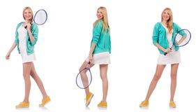 打网球的年轻花姑娘隔绝在白色 免版税库存照片