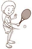 打网球的男孩的一个简单的剪影 免版税库存照片