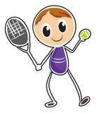 打网球的男孩的剪影 免版税库存照片