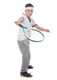打网球的男孩 免版税库存图片