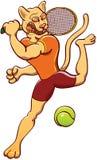 打网球的美洲狮 免版税库存照片