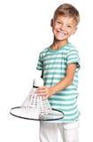打羽毛球的小男孩 库存照片