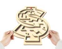 打迷宫局面在金钱塑造箱子 免版税库存图片