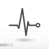 打重点 心电图 心动周期 黑色更改图标肝脏医疗保护白色 免版税库存照片