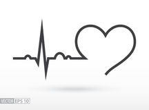 打重点 心电图 心动周期 黑色更改图标肝脏医疗保护白色 库存照片