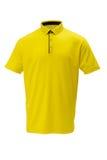打高尔夫球与黑修剪T恤杉的黄色男人或妇女的 免版税库存图片