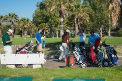 打高尔夫球在太阳海岸,马拉加,西班牙的比赛 库存图片