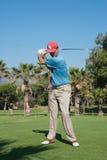打高尔夫球在太阳海岸,马拉加,西班牙的比赛 图库摄影
