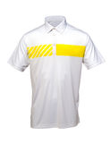 打高尔夫球男人或妇女的白色和黄色T恤杉 免版税库存照片