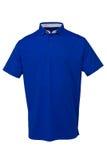 打高尔夫球男人或妇女的T恤杉蓝色颜色 免版税库存照片