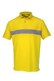 打高尔夫球男人或妇女的T恤杉黄色颜色 库存图片