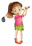 打高尔夫球的一个逗人喜爱的小女孩 免版税库存照片