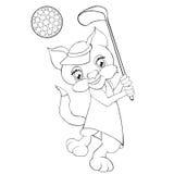 打高尔夫球的彩图猫 动画片样式 库存例证