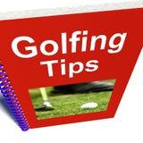 打高尔夫球的技巧书显示高尔夫球运动员的忠告 免版税库存图片