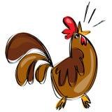 打鸣在一个天真的幼稚图画样式的动画片棕色雄鸡 向量例证