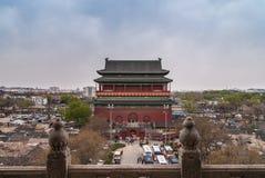 打鼓从钟楼看见的塔,北京中国 免版税库存图片