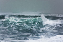 打破和飞溅在岸的详细的冬天风暴波浪 库存图片
