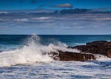 打破在印度洋的岩石的波浪在狂放的海岸  免版税库存图片