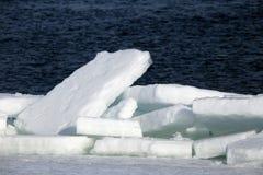 打破在河的冰在春天 免版税图库摄影