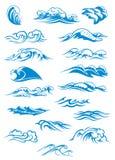 打破海浪的蓝色 库存例证